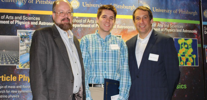 2015 Julia Thompson Award recipient Adam Palenchar with Professor David Turnshek and Professor Adam Leibovich (chair)
