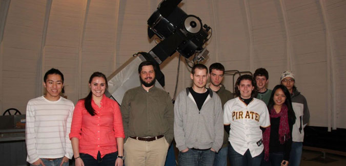 Student group STEPUP surveys extrasolar planets at the Allegheny Observatory with Professor Michael Wood-Vasey