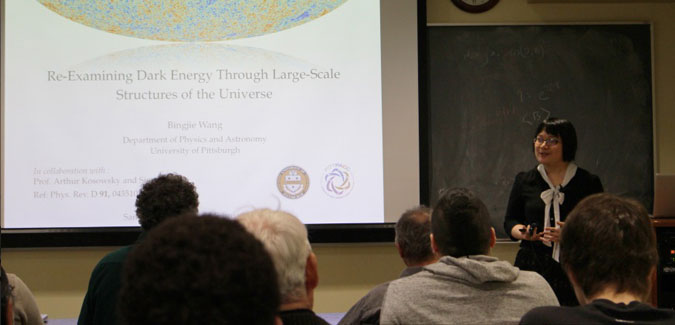 2014 Emil Sanielevici Award recipient Bingjie Wang presents her research on cosmic microwave background radiation